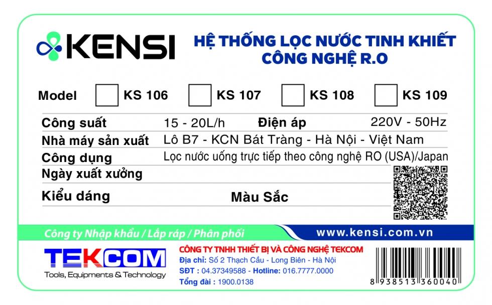 Tem phụ xác định nguồn gốc sản phẩm Kensi chính hãng