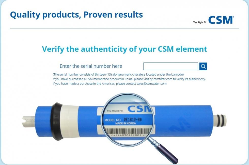 Xác minh sản phẩm màng CSM với cách nhập số serial màng kiểm tra
